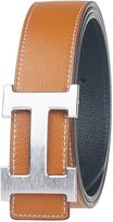 Moraner Golden fame New Designer H Buckle Belt, High Quality Luxury Men's Leather Waist Belts Silver buckle/Brown 38in