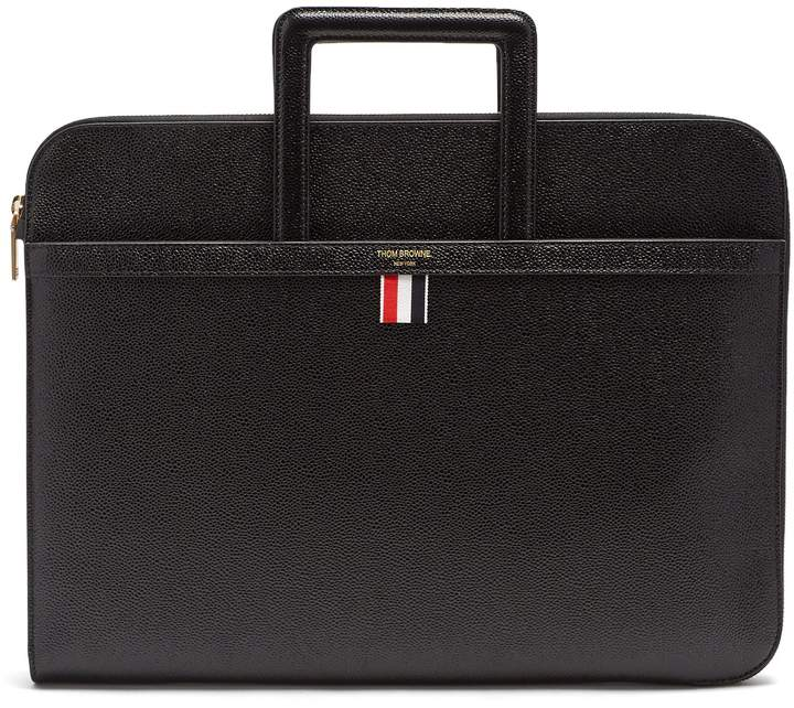 Thom Browne Sliding-handle grained-leather document holder