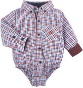Andy & Evan Long-Sleeve Poplin Check ShirtzieTM, Red/Multicolor, Size 3-24 Months