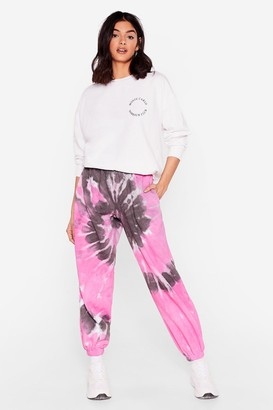 Nasty Gal Womens That's Groovy Tie Dye Oversized Joggers - Pink - S