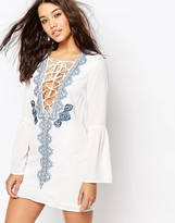 Missguided Long Sleeve Lace Up Embroidered Dress