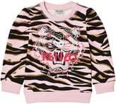 Kenzo Pink Tiger Print Sweatshirt with Puff Sleeves