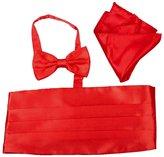 easy2rich Men Satin Cummerbund Bowtie Pocket Square Hanky Set for Tuxedo Wedding 10 Colors