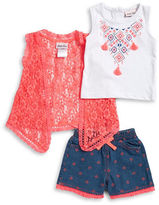 Little Lass Baby Girls Baby Girls Floral Lace Topper, Geometric Graphic Tank, and Shorts Set