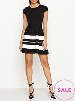 Karen Millen Stripe Fit And Flare Knitted Dress
