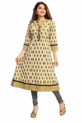 Unifiedclothes Women Indian Long A-Line Kurti Tunic Printed Kurta Shirt Dress NK07 Yellow (UK 16|Bust 40"