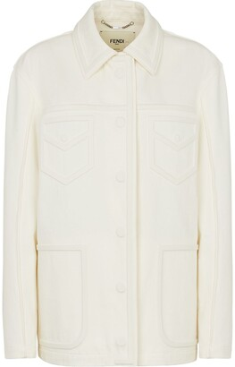 Fendi Button-Up Cotton Military Jacket