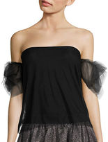 Necessary Objects Puff-Sleeve Off-the-Shoulder Tulle Top