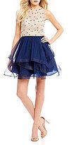 B. Darlin Beaded Bodice Layered Skirt Solid Fit-And-Flare Dress