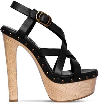 DSQUARED2 140MM LEATHER & WOODEN HEEL SANDALS