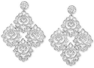 Zenzii Silver-Tone Filigree Glitter Resin Chandelier Earrings
