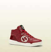 Gucci kid's red leather high-top sneaker with red interlocking G detail