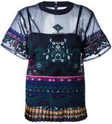 Sacai tribal lace top - women - Polyester/Cotton - 4