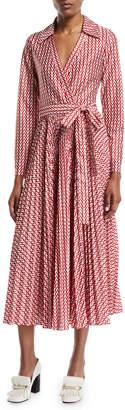 Valentino Long-Sleeve Allover V Logo Self-Belt Ankle-Length Wrap Dress