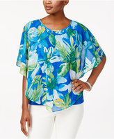 Alfred Dunner Petite Tropical-Overlay Top