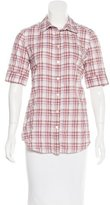 Elizabeth and James Plaid-Printed Button-Up Top