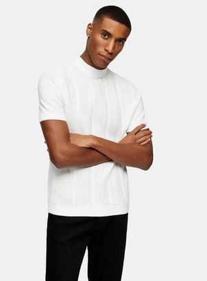 Topman White Stitch Turtle Neck Knitted Jumper