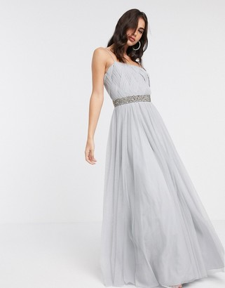 ASOS DESIGN tulle embellished waist cami maxi dress in silver blue