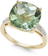 Macy's Green Quartz (6-1/4 ct. t.w.) and Diamond Accent Ring in 14k Gold