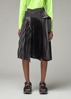 Junya Watanabe Women's Accordion Pleated Satin Asymmetric Belt Skirt in Black Size 1