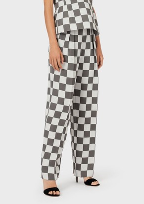 Emporio Armani Technical Cady, Darted Trousers With Checkerboard Motif