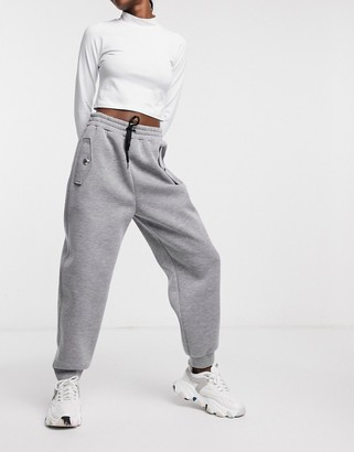 Love Moschino logo button track pants in grey