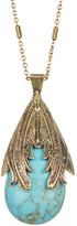 Jessica Simpson Feather Detail Stone Drop Pendant Necklace