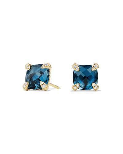 David Yurman Châtelaine 8mm Hampton Blue Topaz & Diamond Earrings
