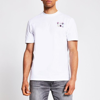 River Island White printed short sleeve slim fit T-shirt
