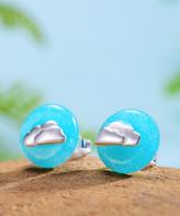 Lotus Fun Women's Earrings Silver - Light Blue & Sterling Silver Cloud Round Stud Earrings