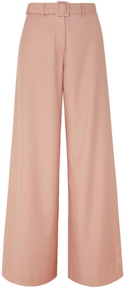 Anna Quan Belted Twill Wide-leg Pants