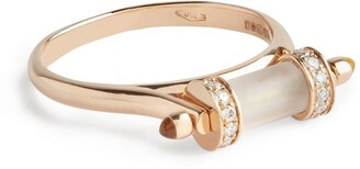 L'ATELIER NAWBAR Rose Gold, Diamond and Crystal de Roche Amulets of Light Ring Size 54