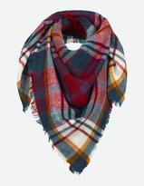 Fat Face Brushed Check Square Scarf