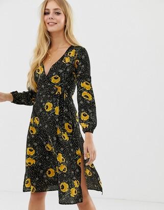 Brave Soul wrap front midi dress in black floral