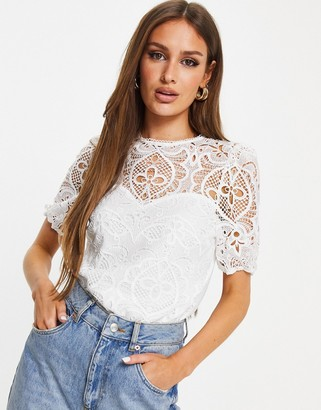 Lipsy lace puff sleeve top in white