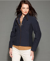 Tommy Hilfiger Jacket, Long-Sleeve Mixed-Media Quilted Barn