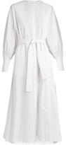 The Row Tie-waist cotton-poplin dress