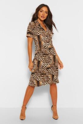 boohoo Tiger And Leopard Mix Shirt Style Midi Dress