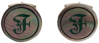 Gianfranco Ferré Pre Owned 2000s iridescent F logo cufflinks
