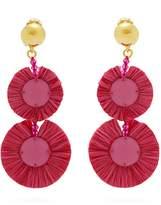 Oscar de la Renta Bead-embellished raffia disc-drop earrings