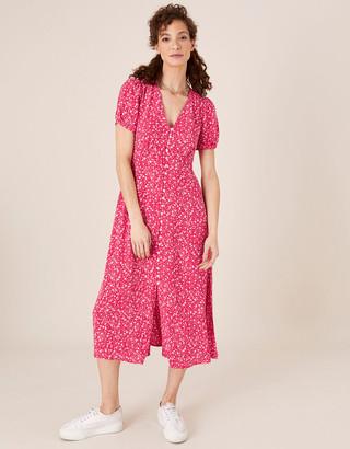 Monsoon Printed Tea Dress in Sustainable Viscose Pink