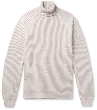 Ribbed Cotton Rollneck Sweater