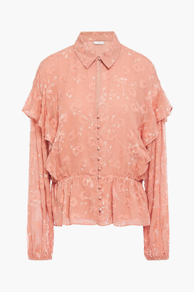 Joie Ruffled Fil Coupe Silk And Cotton-blend Crepon Blouse