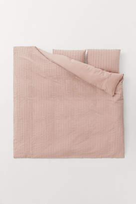 H&M Seersucker Duvet Cover Set - Pink