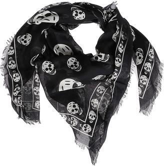 Alexander McQueen Black Modal-silk Skull Scarf