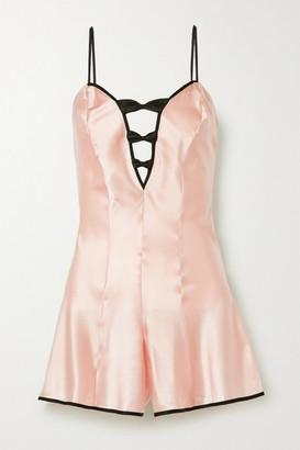 Morgan Lane Tilly Bow-embellished Satin Playsuit - Pastel pink