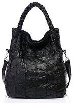 Pulama Womens Soft Leather Shoulder Bags Tote Lambskin Handbags - Convertiable Satchel 2 In 1 Designer - Vintage Handmade Plait Handles