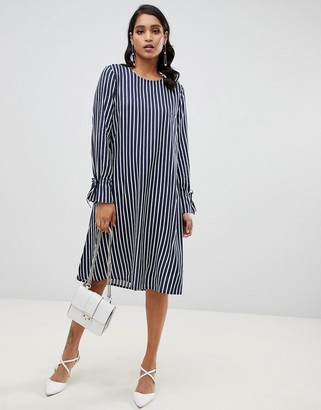 Asos Y.A.S Strey tie sleeve stripe dress-Navy