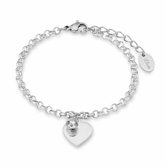 S'Oliver Women's Bracelet with Heart Pendant (can be Engraved) Stainless Steel Crystal White Round Cut 20 cm silver