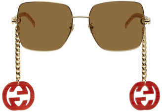 Gucci Gold and Brown GG0724S Runway Sunglasses